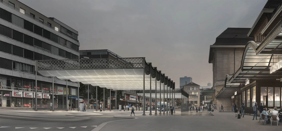 Caruso St John .  new Station Square . Lausanne (1)
