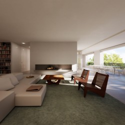 Living room and open loggia of the penthouse