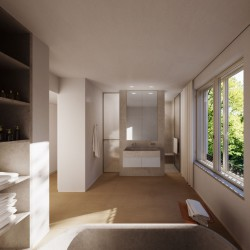 The Master bathroom with view into the green